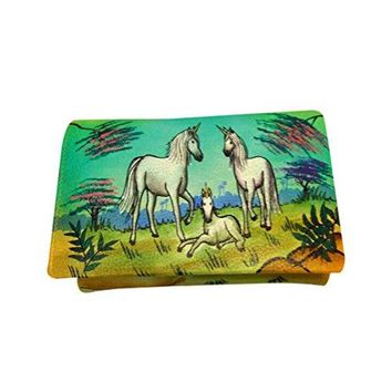 Real Nappa Leather Wallet Money Card Organizer Large Womens Coin Purse Hand Painted