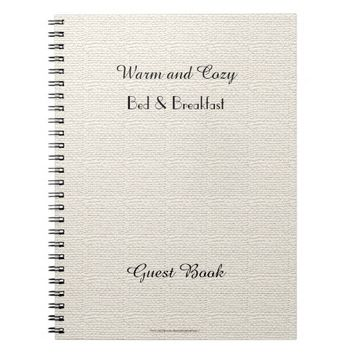 Rustic B&B Guest Book, Faux White Burlap Notebook