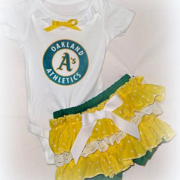 Girls Oakland Athletic A's Game Day Outfit, Baby Girls Oakland A's Baseball Coming Home Outfit