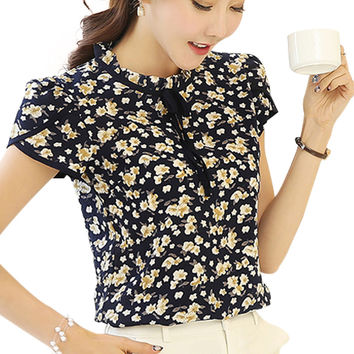 Women Summer Tops Chiffon Blouses And Shirts Ladies Floral Print Feminine Blouse Short Sleeve Blusas Femme Plus Size Tops Female