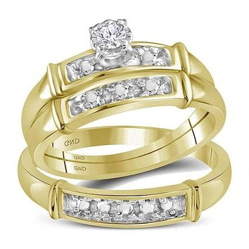 14kt Yellow Gold His & Hers Round Diamond Solitaire Matching Bridal Wedding Ring Band Set 1/10 Cttw - FREE Shipping (US/CAN)