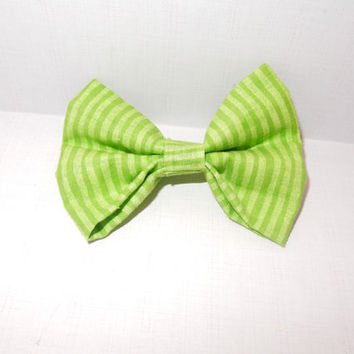 Green Striped Dog Bow Tie
