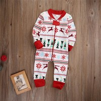 Infant Christmas Clothes Baby Boy Girl Xmas Zipper Jumpsuit Romper Outfits Clothes 0-18M