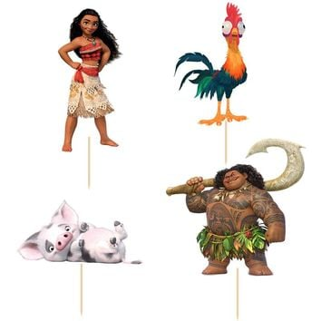 72pcs Cartoon Moana Princess Maui cupcake topper picks Kids birthday party decoration Cake Baking Event Party Wedding Supplies