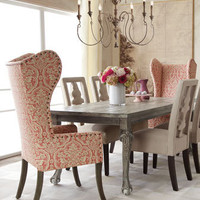 "Haute House - ""Liday"" Dining Table, ""Benjamin"" Carved-Back Chair, and Pink Damask Wing Chair - Horchow"