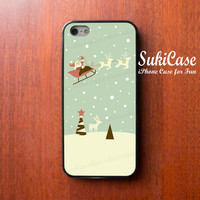 SANTA CLAUS on Deer Sled over Sky CHRISTMAS iPhone 5s Case Snow X Mas iPhone Case iPhone 5 Case iPhone 4 Case Samsung S4 iPhone 5c iPhone 4s