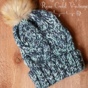 Marled Beanie Hat with Faux Fur Pom Pom