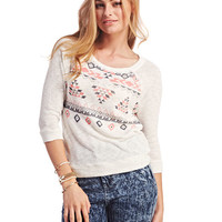Sheer Back Tribal Print Sweater | Wet Seal