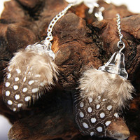 Dream Feather Earrings Cute Baby Polka Dot by KapKaJewelryDesign