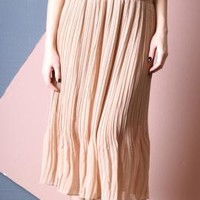 Earthly Stroll Accordion Pleat Midi Skirt in Almond | Sincerely Sweet Boutique