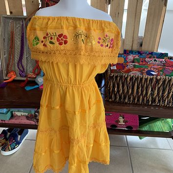 Mexican Campesino Dress for Girls yellow