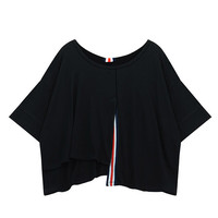 Stripe Spliced Assymetric Loose Top in Black or White