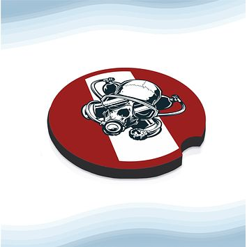Diver Skull Red No Text Car Cup Holder Coasters Rubber Black-Backed (Set of 2)