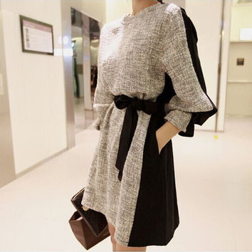Woman Clothes Autumn Winter Plus Size Long Sleeve Vintage Dress Korean Style Women Slim Casual Dress Vestidos Femininos D-097
