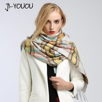 2017 winter ladies scarves women high fashion plaid scarf ponchos capes crinkle hijab warm cotton long women's knit wool scarf