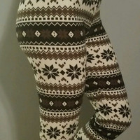 Snowflake Leggings Brown and Black W/Zipper