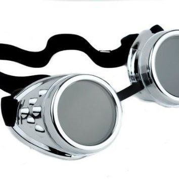 Plain Silver Goggles DIY Cosplay Cyber Goth Glasses