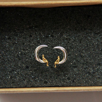 Sterling Silver Lover Moon Earrings, Moon Stud Earrings, Moon Studs, Cute earrings, Gold Moon Earrings, Moon Jewelry, Gift for Her