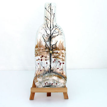 Wall clock ,  Fused glass autumn  landscape  Melted recycled Wine Bottle