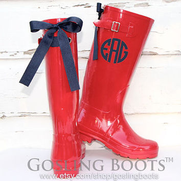 Custom Cherry Red Gloss Rain Boots with Navy Bows