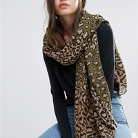 Pieces Leopard Print Long Scarf at asos.com