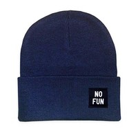 No Fun Label Beanie - Navy Blue