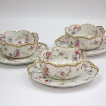 Antique Haviland LIMOGES / Berry Bowls and Saucers / Ramekins / SET of 3