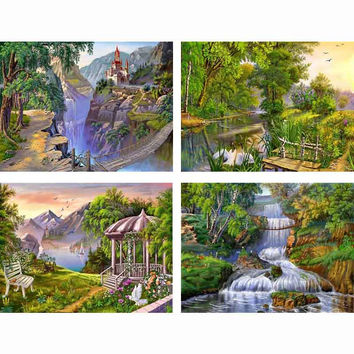 5d Diy Diamond Painting landscape Diamond Embroidery forest park Crystal square Diamond