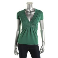 Catherine Malandrino Womens Crochet Trim Pleated Knit Top