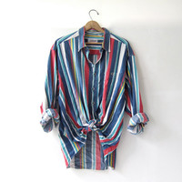 20% OFF SALE / 90s oversized boyfriend shirt. button up striped shirt. Colorful cotton pocket shirt.