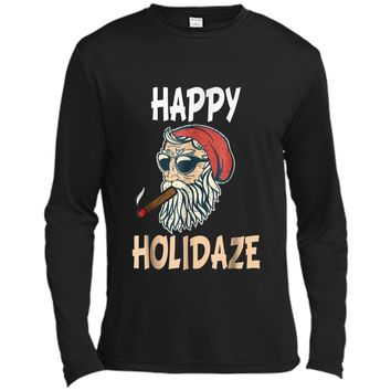 happy holidaze cannabis 420 weed christmas funny santa  Long Sleeve Moisture Absorbing Shirt