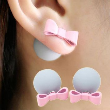 Cute/romantic Bowknot Ball Earrings Simulated Pearl Bow Tie Stud Earring Lovely Multicolor Aretes Double Side Jewelry Women Gift