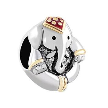 CharmsStory Sterling Silver Elephant Charm Antiqued Thailand Animal Style Beads Charms For Bracelets
