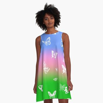 'Ombre Blue Pink Green with White Butterflies' A-Line Dress by Greenbaby