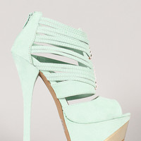 Qupid Count-38 Strappy Peep Toe Stiletto Heel