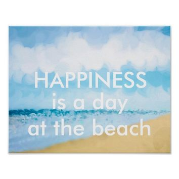 fun beach art poster happiness quote wall art