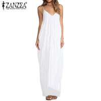Vestidos 2016 Summer Style Women Boho Strapless Sexy V Neck Sleeveless Dress Casual Loose Long Maxi Solid Dress White Oversized