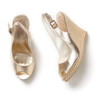 Lilly Pulitzer Kristin Leather Wedge - Gold Metallic