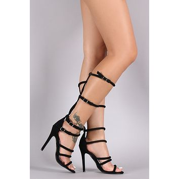 Qupid Buckled Strappy Open Toe Stiletto Heel