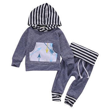 New 2016 fashion baby boy clothes baby clothing set Newborn Boy Girl Infant Clothes Hoodie Top T-shirt+Pants Toddler Outfit Set
