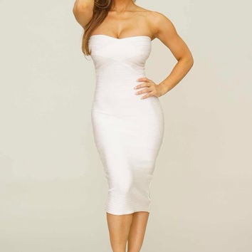 Desiree Midi bandage dress (white)