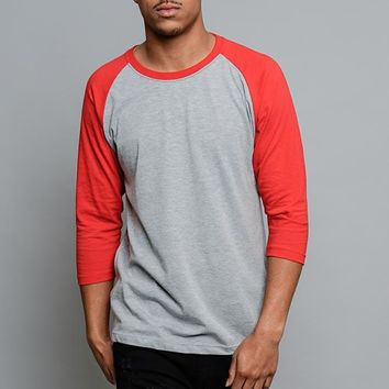Men's Baseball T-Shirt TS900 (Grey/Red) - B12C