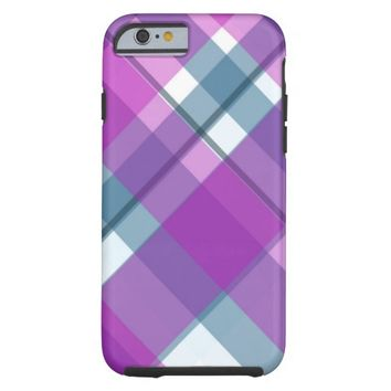 Purple and Turquoise Plaid Pattern Tough iPhone 6 Case