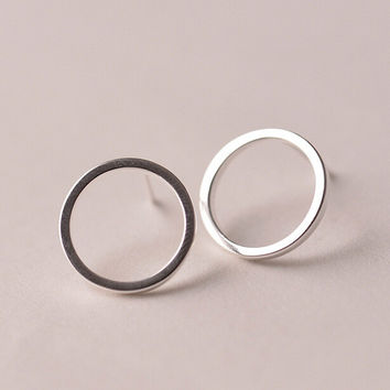 925 Sterling Silver Earrings Simple Circles Stud Earrings For Women Hypoallergenic Sterling Silver Jewelry