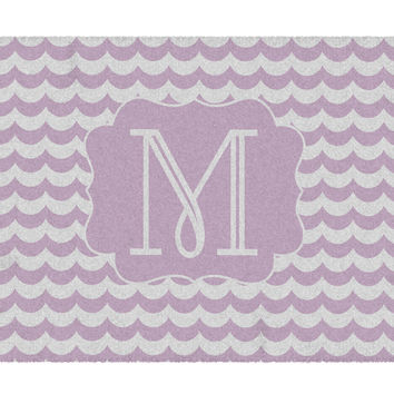Lilac Waves Monogram Rug