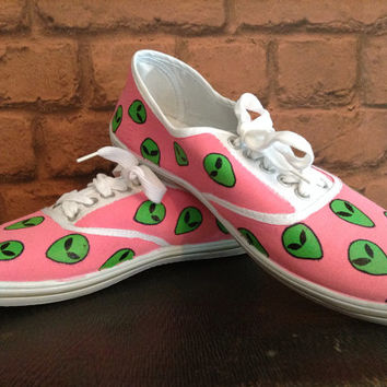 Hand painted Alien face shoes