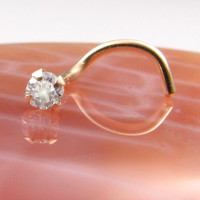 Nose Screw Nose Ring Yellow Gold Solid 14KT 2mm Clear Diamond. FREE Backing.