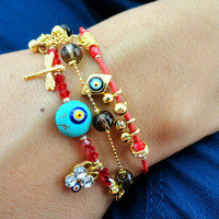 Evil eye bracelet sets ethnic authentic jewelry red christmas jewelry best friend birthday present gifts for women butterfly charm red
