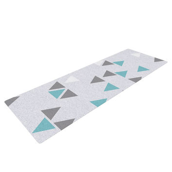 "Nick Atkinson ""Triangle Love II"" Gray Teal Yoga Mat"
