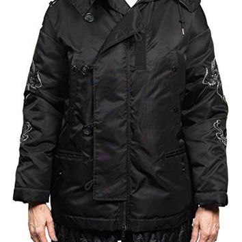 Moncler Ibuki Embroidered Dragon Down Parka Jacket Black Women's